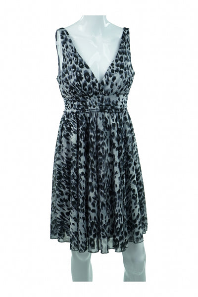 Charlotte Russe, Women's Grey And Black Leopard Print Sleeveless Dress - Size: M (Regular)