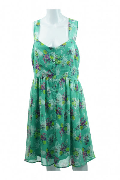Lauren Conrad, Women's Teal And Purple Floral Sleeveless Square-neck Midi Dress - Size: 14 (Regular)