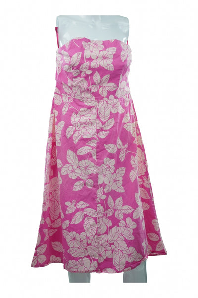 Express, Women's Pink And White Floral Dress - Size: 12 (Regular)