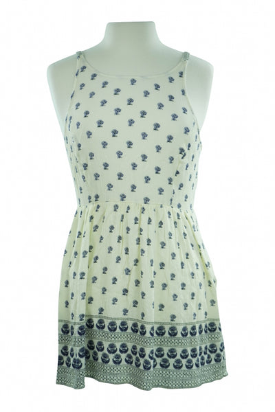Forever 21, Women's Off White And Blue Sleeveless Dress - Size: L (Regular)