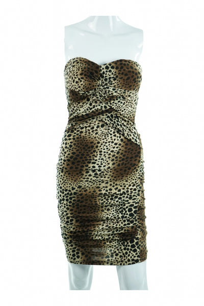 BLVD, Women's Brown And Black Leopard Print  Dress - Size: S (Regular)