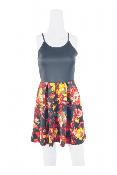 H & H, Women's Black And Multicolored Floral Spaghetti Strap Mini Dress - Size: M (Regular)