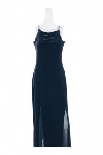 Onyx Nite, Women's Black Sleeveless Slit Dress - Size: 12 (Regular)