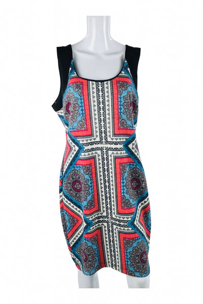 Bisou Bisou, Women's White, Red, And Blue Floral Scoop-neck Sleeveless Dress - Size: 16 (Regular)