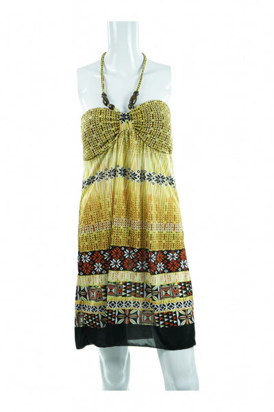 Raya Sun, Women's Yellow, Black, And Brown Floral Dress - Size: L (Regular)