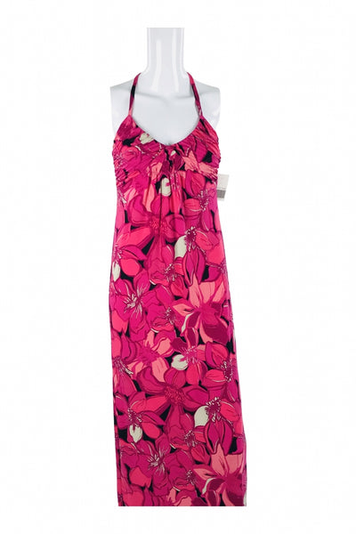 Elle, Women's Pink  Floral Halter Dress - Size: XS (Regular)