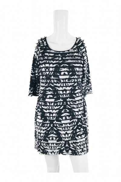 Ronni Nicole, Women's Black And White Floral Scoop-neck Mini Dress - Size: 6 (Regular)