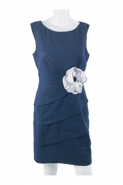 Connected Apparel, Women's Blue And White Floral Sleeveless Dress - Size: 8 (Regular)