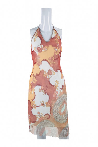Divided By H&M, Women's White And Pink Floral Halter Neck Dress - Size: 8 (Regular)