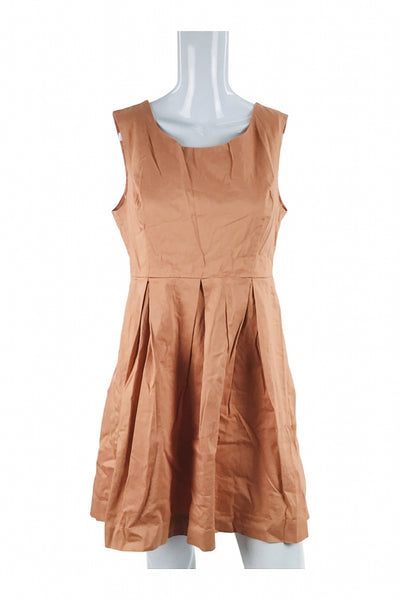 Forever 21, Women's Brown Scoop-neck Sleeveelss Dress - Size: L (Regular)