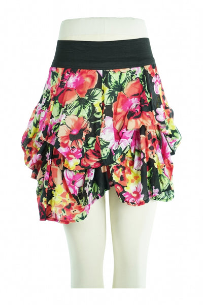 Lime, Women's Black And Multicolored Floral Mini Skirt - Size: S (Regular)