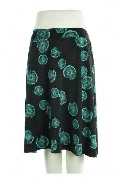 Cato, Women's Black And Teal Floral Skirt - Size: L (Regular)