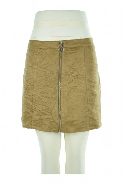 Divided, Women's Brown Zip Up Skirt - Size: 10 (Regular)