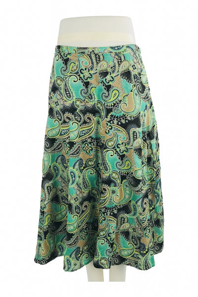 Liz Claiborne, Women's Black, Brown, And Teal Paisley Maxi Skirt - Size: 14 (Regular)