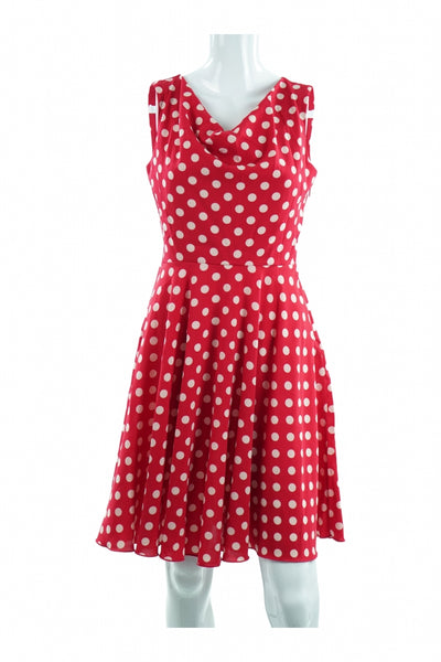 En Focus Studio, Women's Red Polka-dot Dress - Size: 4 (Regular)