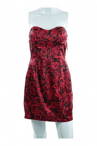 Charlotte Russe, Women's Red And Black Floral Dress - Size: M (Regular)