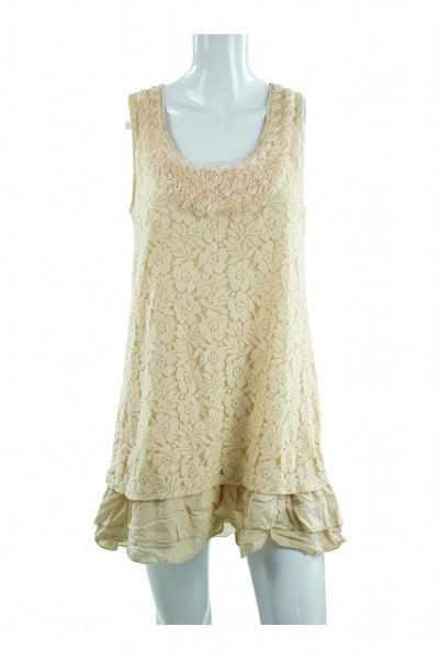 Miss Chievous, Women's Beige Floral  Dress - Size: L (Regular)
