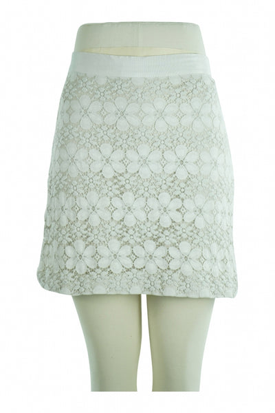 Loft, Women's White Floral Skirt - Size: 2 (Regular)