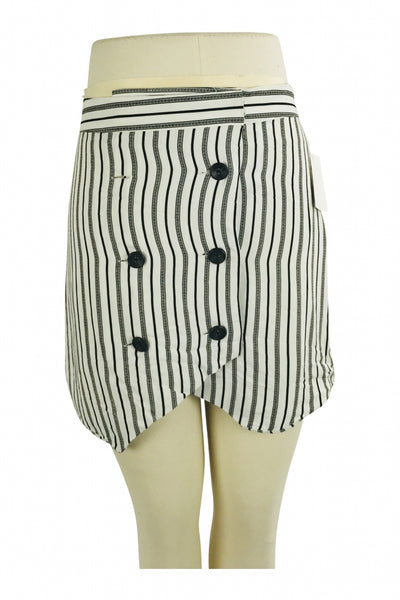 Bcggenration, Women's White And Black Pinstriped Double-breasted Mini Skirt - Size: 6 (Regular)