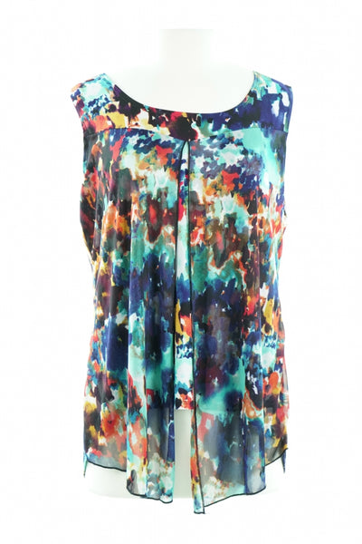 Susan Lawrence, Women's Blue And Multicolored Floral Sleeveless Top - Size: XL (Regular)