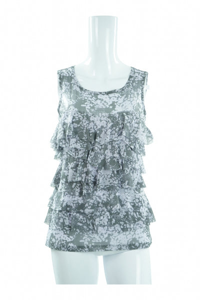 INC International Concepts, Women's Grey And White Floral Scoop-neck Sleeveless Top - Size: S (Regular)