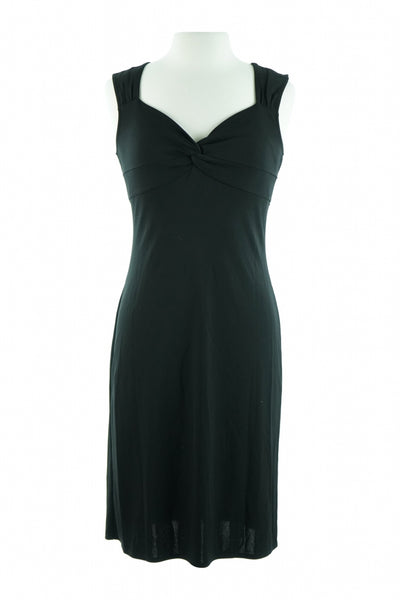 Unbranded, Women's Black Scoop-neck Cap-sleeved Dress - Size: 4 (Regular)