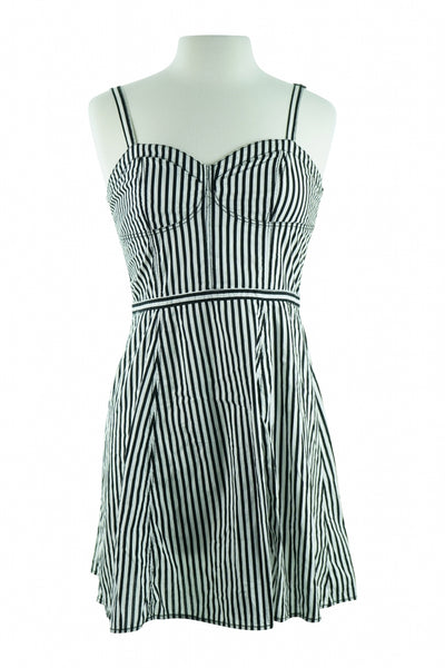 Divided By H&M, Women's Black And White Stripe Sleeveless Dress - Size: 10 (Regular)