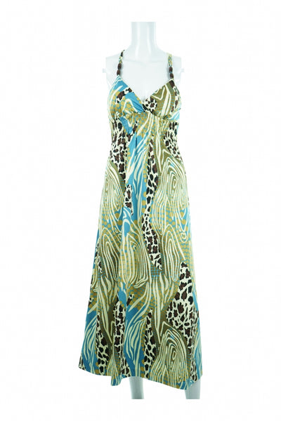 Alyn Paige, Women's Green, Blue, And White Floral Dress - Size: S (Regular)