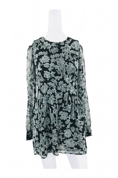 Bethany Mota, Women's Black And White  Floral Top - Size: M (Regular)