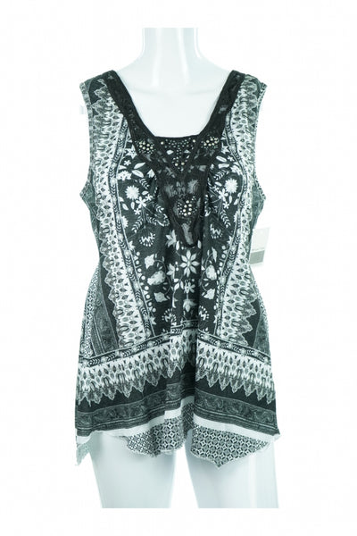 One World, Women's Black And White Floral Sleeveless Mini Dress - Size: M (Regular)