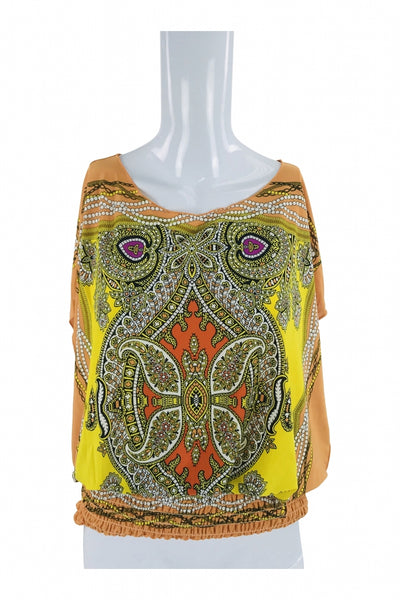 Isabella Rodriguez, Women's Yellow And Brown Scoop-neck Top - Size: L (Regular)