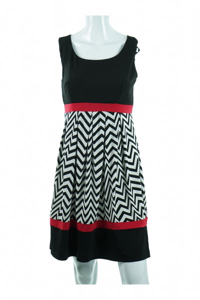 En Focus Studio, Women's Black And White Print Dress - Size: 8 (Regular)