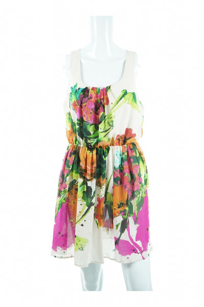 Margo & Sebastain, Women's Green, Red, And Yellow Floral Dress - Size: L (Regular)