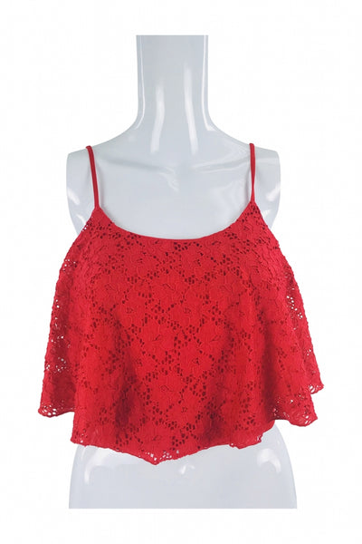 Charlotte Russe, Women's  Red Spaghetti Strap Blouse - Size: L (Regular)
