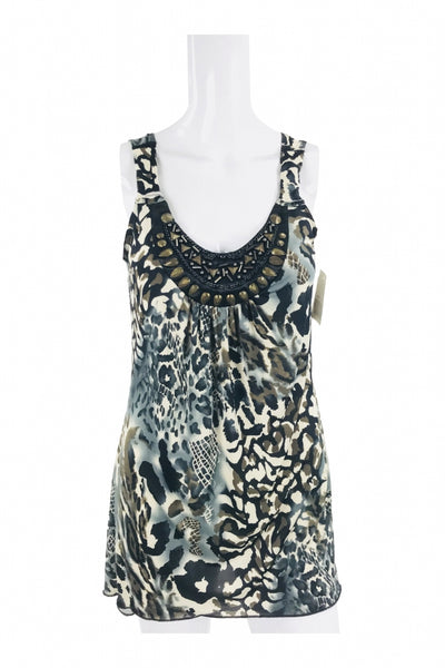 Fashion Bug, Women's White, Grey, And Black Floral Sleeveless Top - Size: S (Regular)