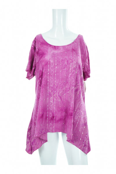 Shannon Ford New York, Women's Purple Top With Beads - Size: L (Regular)