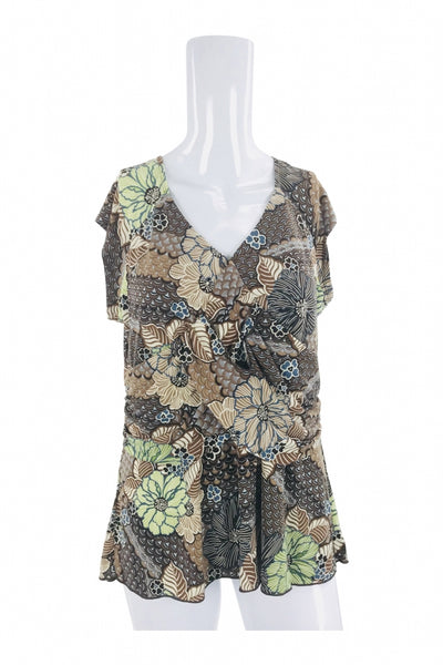 Studio1940, Women's Green And Brown Floral Top - Size: L (Regular)