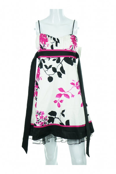 Speechless, Women's White, Pink, And Black Floral Spaghetti Strap Midi Dress - Size: 3 (Regular)