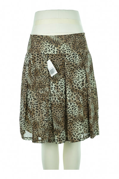 Bobby, Women's Brown And White Leopard Print Skirt - Size: 8 (Regular)