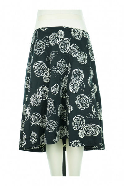 Claudia Richard, Women's Black And White Floral Skirt - Size: L (Regular)