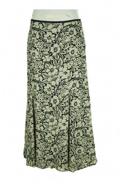 Liz Claiborne, Women's Black And Beige Floral  Skirt - Size: 12 (Regular)