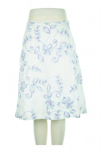 DressBarn, Women's White And Blue Floral Midi Skirt - Size: 4 (Regular)