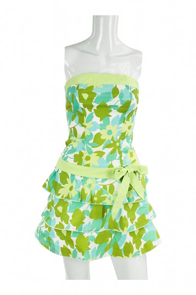 Trixxi, Women's Green, Yellow, And White Floral Strapless Dress - Size: 3 (Regular)