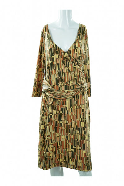 Axcess, Women's Beige And Brown V-neck Long-sleeved Dress - Size: M (Regular)