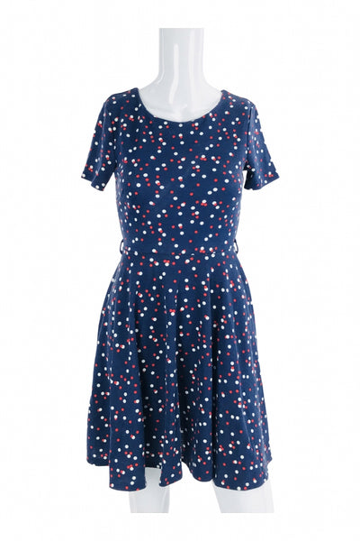 H&M, Women's Blue, White, And Red Polka-dot Dress - Size: XS (Regular)