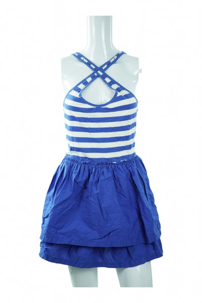 Hollister, Women's Blue And White Sleeveless Dress - Size: M (Regular)