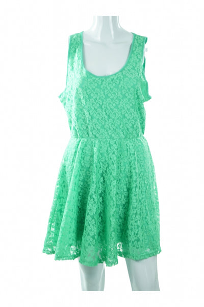 Banana Lemon, Women's Green Sleeveless Dress - Size: L (Regular)