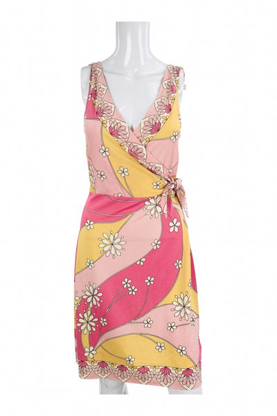 Banana Republic, Women's Girl's Pink And Multicolored Floral Surplice Dress - Size: S (Regular)