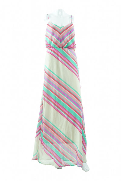 Heart Soul, Women's White, Pink, And Green Stripe Dress - Size: L (Regular)