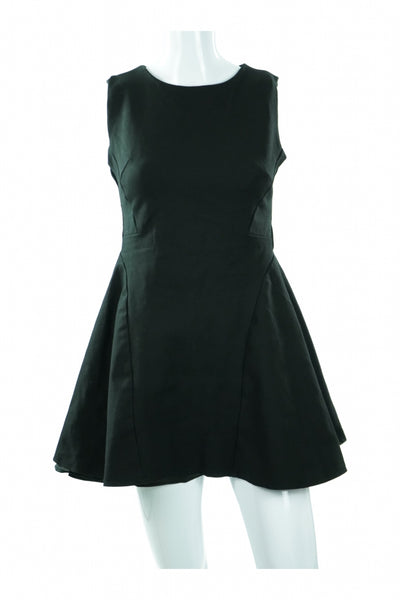 Hwa Lea, Women's Black Boat-neck Sleeveless Dress - Size: M (Regular)